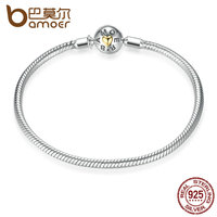 BAMOER Exclusive Snake Chain Bracelet Real 925 Sterling Silver DIY Bracelets Fit Charms Beads Accessories Fine