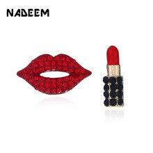 NADEEM Punk mujeres Sexy labial rojo Stud pendientes moda Party Hip Hop  completo cristal labios y 8a81be4ab81