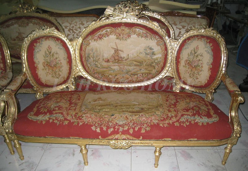 Antique Set of sofa and chairs, Antique handmade living room furniture, Aubusson sofa cover, woolen material Artificial carving image