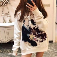 WB07347 Fashion women's Hoodies & Sweatshirts 2018 Runway Luxury Brand European Design party style women's Clothing