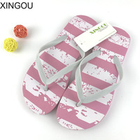 2017 New Striped puppy flat flip flops women candy colored female summer beach slippers with flat sandals flip flops