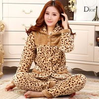 Sexy Leopard Print Women Pajamas Set Autumn Winter Warm 2PCS Sleepwear Flannel Soft Nightwear Pijamas Lounge Home Clothes