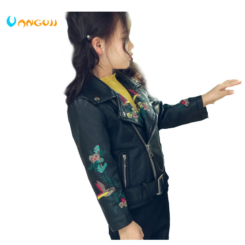 autumn and winter 2017, hot PU jacket children, 2-7 year old girl, fashion embroidered flower bird fur coat, motorcycle leather