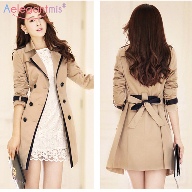 Autumn Women Double Breasted Long Trench 1