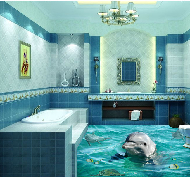 Free shipping 3d bathroom lovely dolphin floor mural for Bathroom floor mural sky