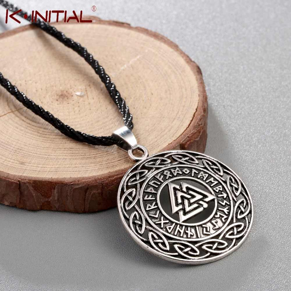 Kinitial Infinity Knots Runes Necklace For Men Runic Norse Valknut Vikings Wikinger Antique Charm Pendants Necklaces Coiler