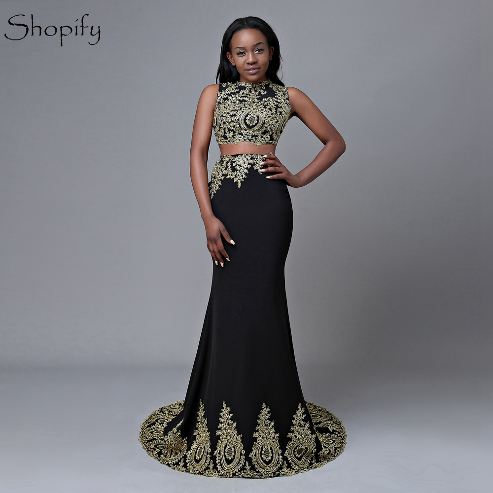Long   Prom     Dresses   2019 Mermaid Scoop Neckline Sleeveless Gold Lace African Two Piece Black   Prom     Dress