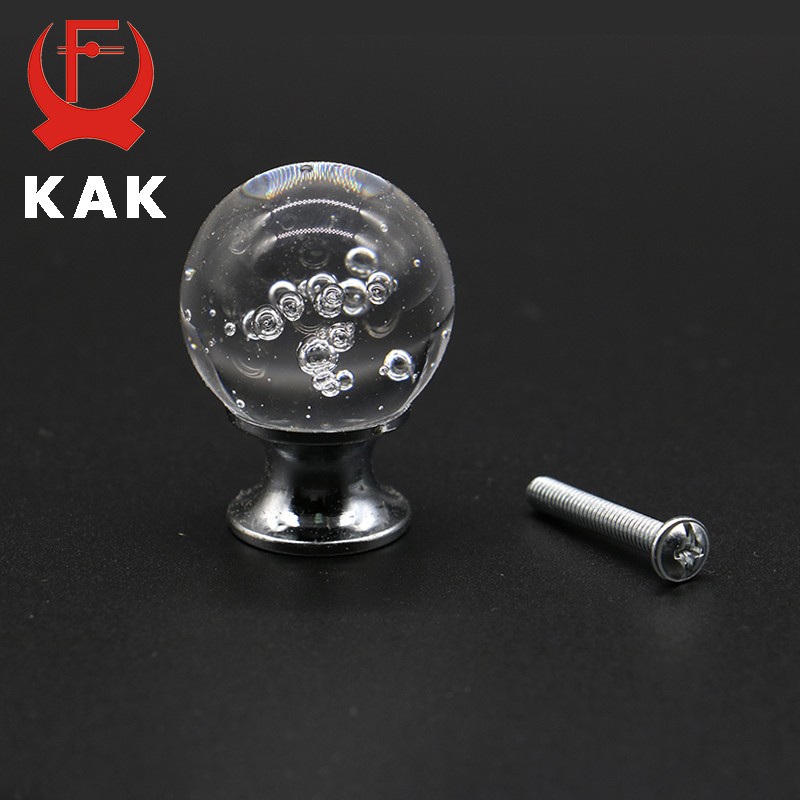 KAK SJ2011 30mm Bubble Ball Design Clear Crystal Glass Knobs Cupboard Drawer Pull Kitchen Cabinet Wardrobe Handles Hardware 24 x 30mm clear crystal glass drawer cabinet wardrobe knobs kitchen door handles