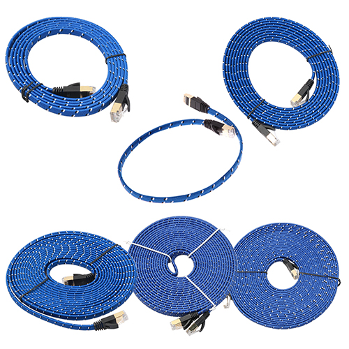Blue Cat 7 RJ45 Shielded Twisted Pair LAN Network Ethernet Cable Internet Cord smt88 100m cat5 5e 8 pin intertek high speed lan network cable utp copper core wire twisted pair ethernet cables internet cable for pc
