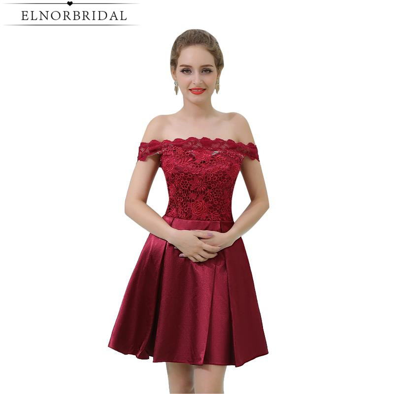 Burgundy Lace   Cocktail     Dress   2019 Sexy Off The Shoulder Short Prom   Dresses   Illusion Back Vestido   Cocktail   Party Gowns