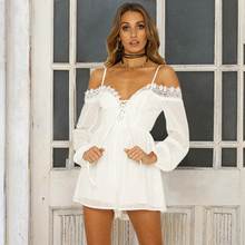 CWLSP Off Shoulder White Lace Playsuits Women Tie Up Long Sleeve Jumpsuits Sexy See Through Overalls roupas feminina QL4136 sexy white see through fishnet playsuits