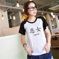 Evil Girl Printed Black White Raglan Sleeve Women T-shirt Swag Clothes Cool Tshirts Japanese Harajuku Mori Top Tee