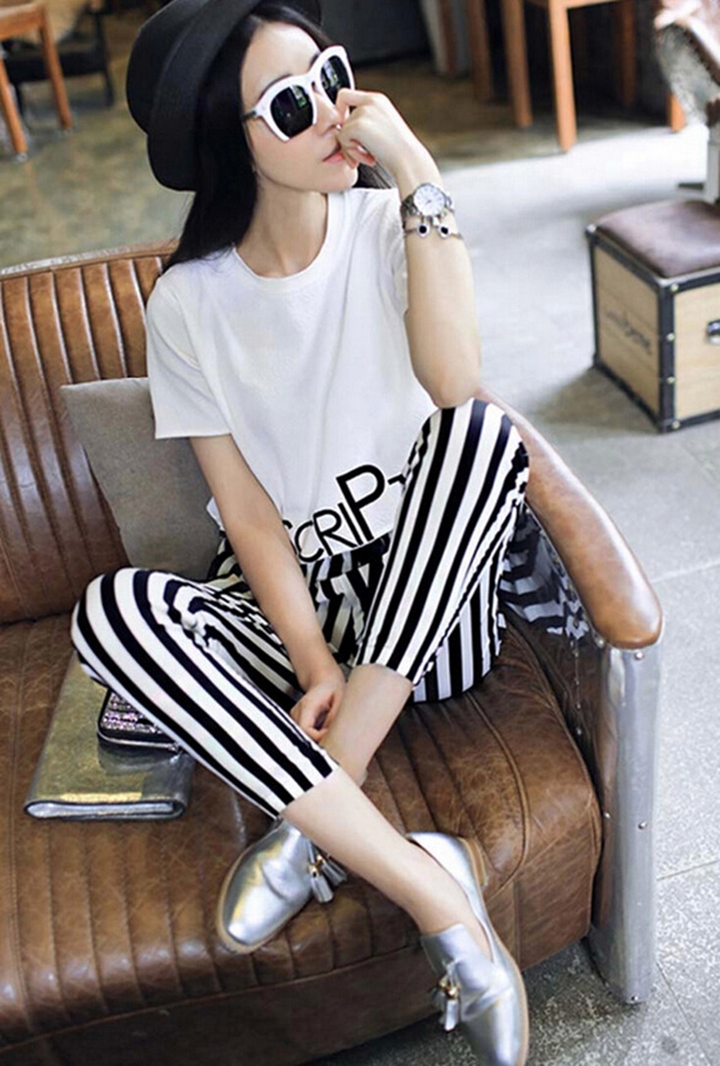 HTB14MQ6lXuWBuNjSszbq6AS7FXaV - 2pieces summer set women tracksuit outfit casual lovely printing cotton letter short t-shirt tops+striped harem pants sweatshirt