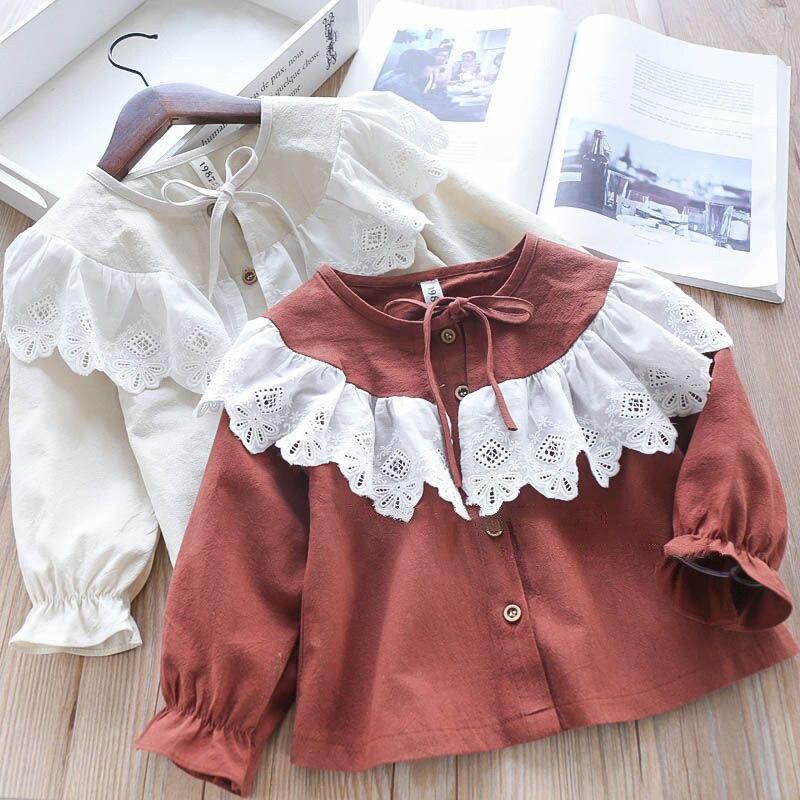 89e4e45cc Dulce 2-7year para niñas primavera otoño princesa camisa de encaje, ropa de  bebé niña chico s ...