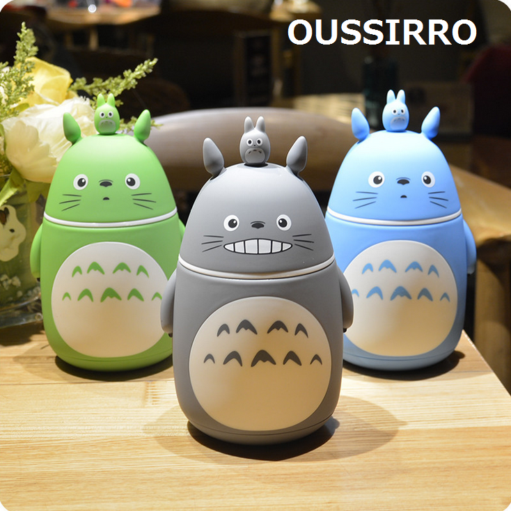 OUSSIRRO 280 ml Totoro Lovely Thermos Pretty Coffee Thermos Mug Stainless Steel Vacuum Cup Sports Water Bottle For Lady and Kids