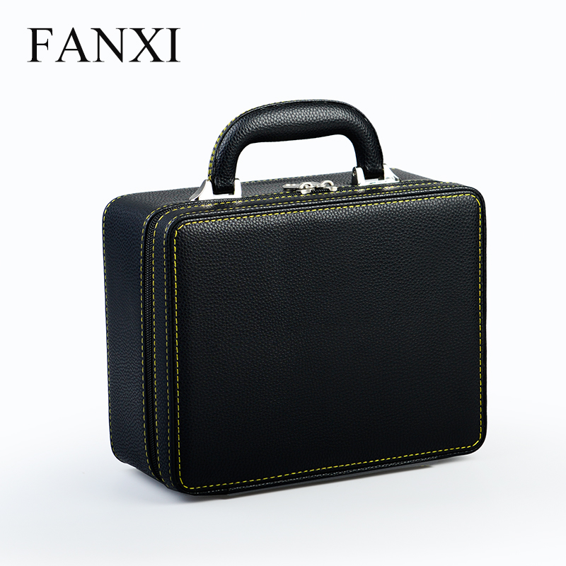 Fanxi 2018 High Quality Black PU Black Jewelry Display Case with Double-layer inner Tray Ring Ear Studs Pendant Storage Suitcase beard portrait pattern ancient palace bronze ear studs white black pair