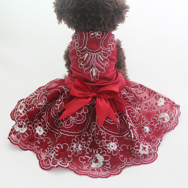 Dog Cat Wedding Dress Tutu Princess Pet puppy Dresses Embroidery&Bow Clothes Apperal 3 colours