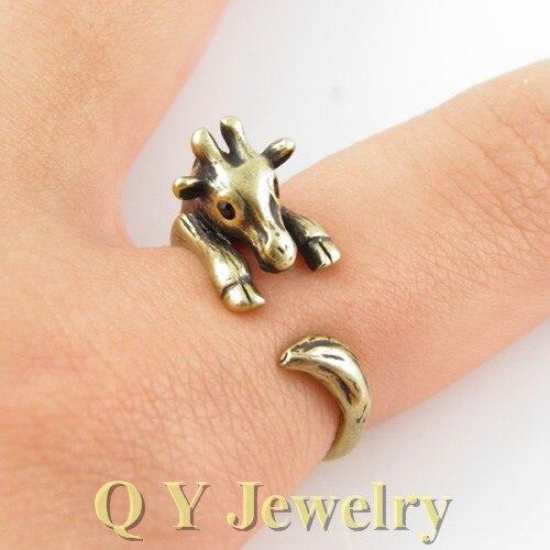 moda hecha a mano de la vendimia de plata hippie de boho chic jirafa anillo del