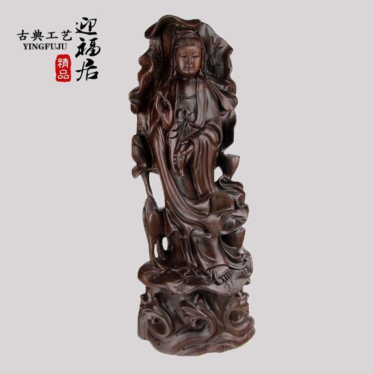 Guanyin lotus ébène rouge bois artisanat boutique Wenwan en bois bouddha en bois national ameublement bijoux ornements