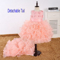 Kid Sleeveless Evening Clothes Children Party Wear Outfit Short Front Long Back Tulle Girls Formal Dress with Long Train
