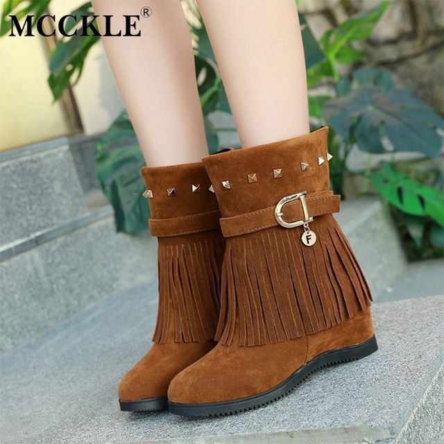 MCCKLE Women Casual Platform Flat Mid Calf Boots Ladies Fashion Footwear  Female Suede Tassel Rivets Height Increasing Shoes. WINTER SALE 239d575c1af8