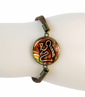 Zodiac Virgo Bracelet Bangle Virgo Astrological Sign Jewelry Bracelet Resin Art Bangle Orange Accessory
