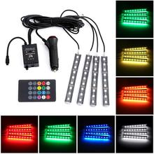 iSincer 4pcs/set 8 Color car Lights Remote Sound Control LED Car Interior Kit styling decoration atmosphere light