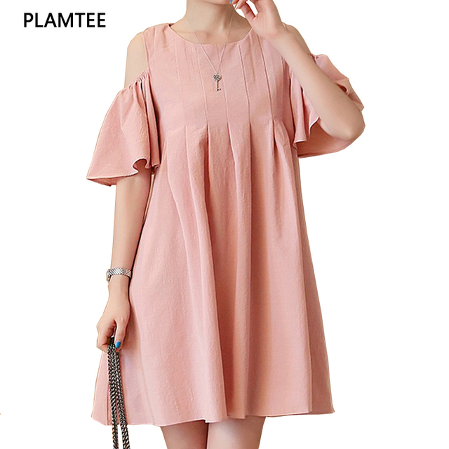 8a7ab371810 Fashion Off Shoulder Maternity Dress 2017 Summer Flouncing Sleeves Vestidos  Solid Color Plus Size Pregnancy Clothes Hamile Giyim
