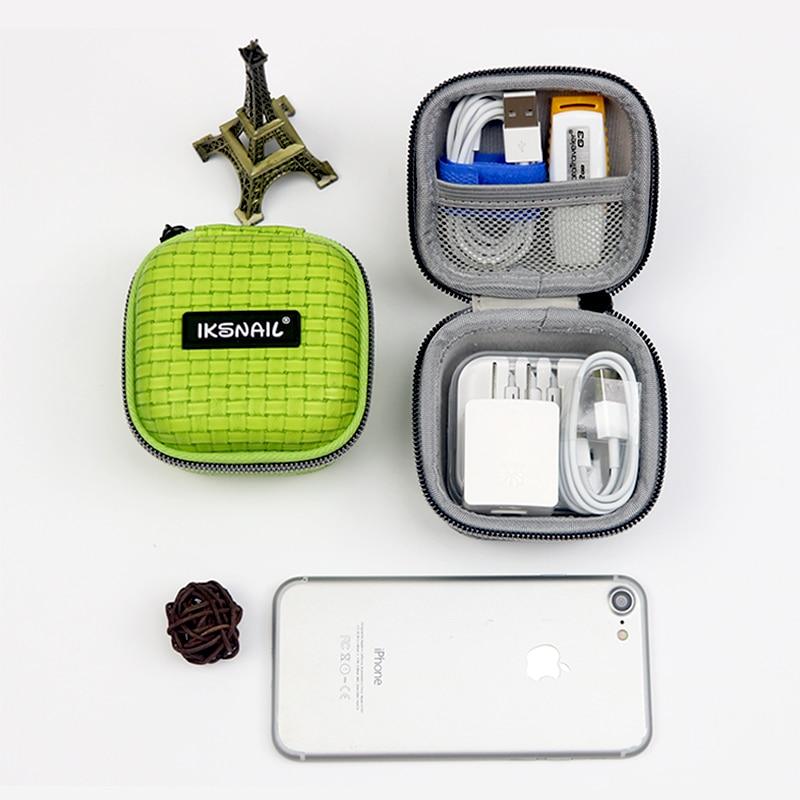 IKSNAIL Unique Earphone Accessories Earphone Case Bag Headphones Charger USB Portable Storage Case Bag Box Headset Accessories in Earphone Accessories from Consumer Electronics