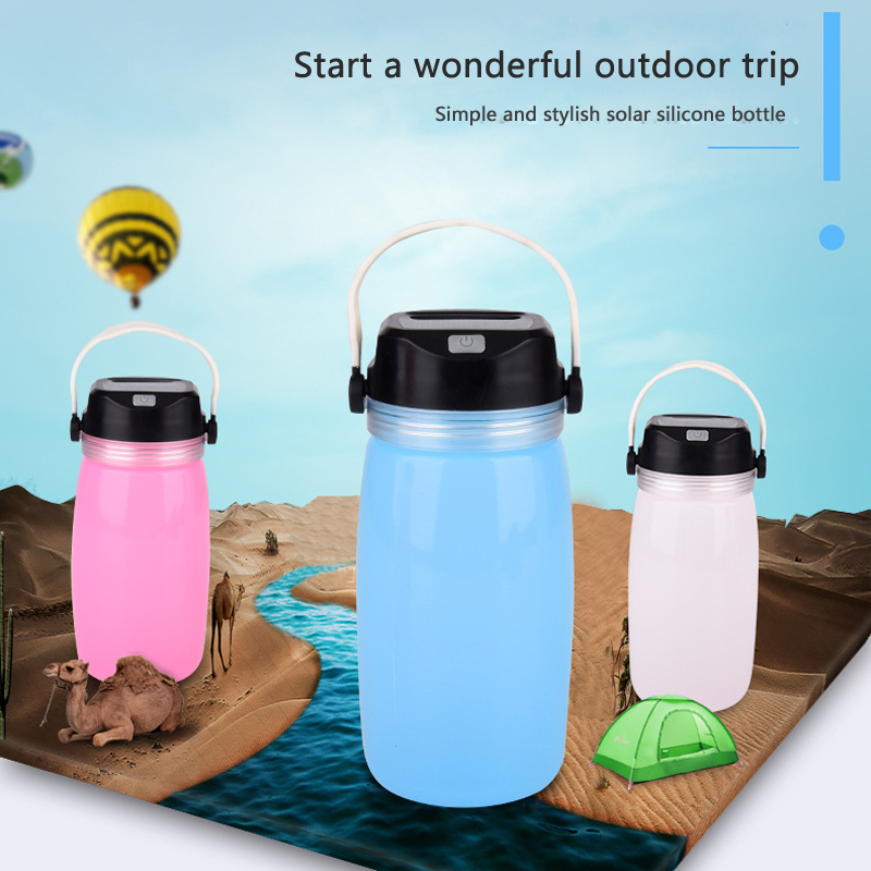 Portable Lanterns LED Outdoor Silicone Lamp Camping Light Solar Charging Outdoor Drift <font><b>Bottle</b></font> Cup Lamp Can Store Drinking <font><b>Water</b></font> image
