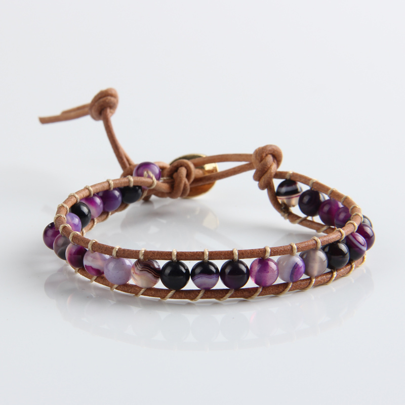 JINSE Leather Beaded 1X Layer Fancy 6MM Purple Stone Beads Bracelets Bangles Elegant Jewelry WPB085 in Strand Bracelets from Jewelry Accessories