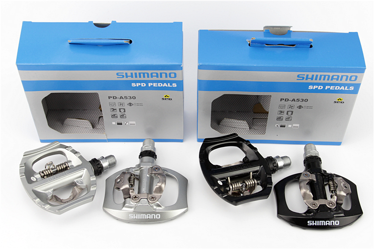 все цены на Shimano A530 SPD Aluminum Pedal PD-A530 Pedals SPD Road Bike Touring Pedals With SPD Cleats free ship онлайн