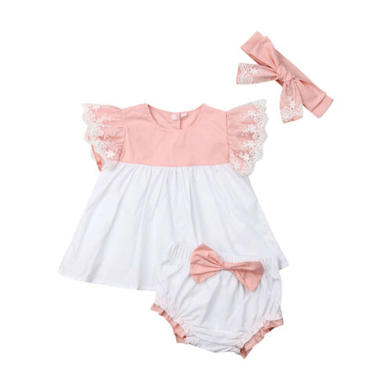 Baby Girls Cotton Clothes Set Fashion Newborn Baby Girls Clothes 3Pcs Fly Sleeve Tops Mini Dress Shorts Headband Outfit 0-24M