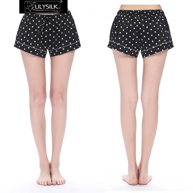 Pantalones Cortos Mujeres de Los Pijamas de Seda Pura Pura 19 momme Lilysilk Negro Polka Dot Imprimir Casual Summer Ropa de Mujer Femenina Pantalones de Dormir