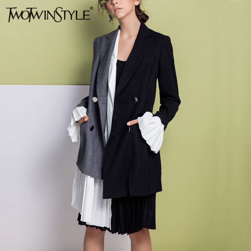 TWOTWINSTYLE Patchwork Chiffon Asymmetrical Blazer Coat Women Flared Long Sleeve Blazers Tops Female Fashion Clothes Korean Ne