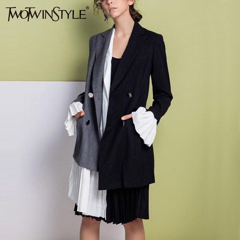 TWOTWINSTYLE Patchwork Chiffon Asymmetrical Blazer Coat Women Flared Long Sleeve Blazers Tops Female Fashion Clothes Korean Ne