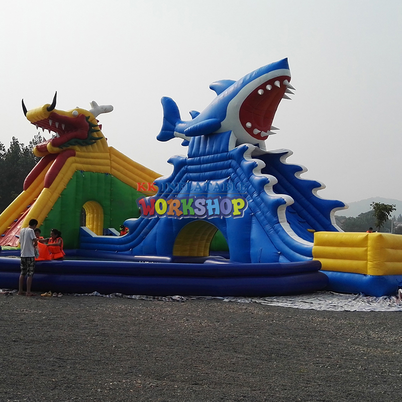 Outdoor Mobile Anime Featured Funtastic Funcity Dragon&Shark Inflatable Water Park For Summer Holidays