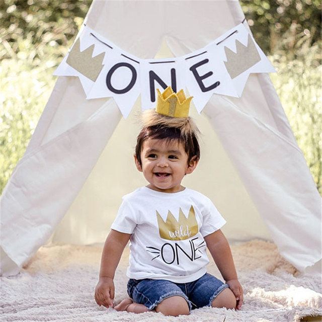 1ST Birthday Toddler Infant Kids Imperial Crown Print T Shirt Baby Boys Girls Clothes Shirts