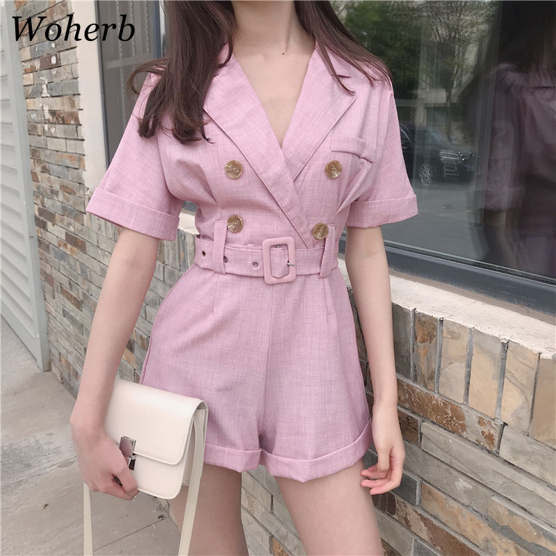 Woherb 2020 Summer Elegant Rompers Womens Bodysuit Casual Korean Double-breasted Top High Waist Shorts21149