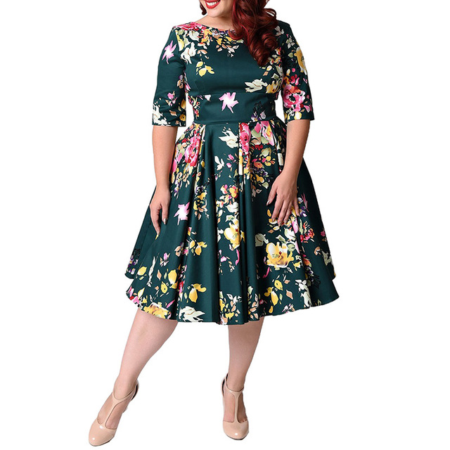b8747c693c4f Plus Size Dresses Women 4xl 5xl 6xl Lovely Green Floral Print Cocktail  Party Retro High Quality Pleat A-line Swing Dress 2018