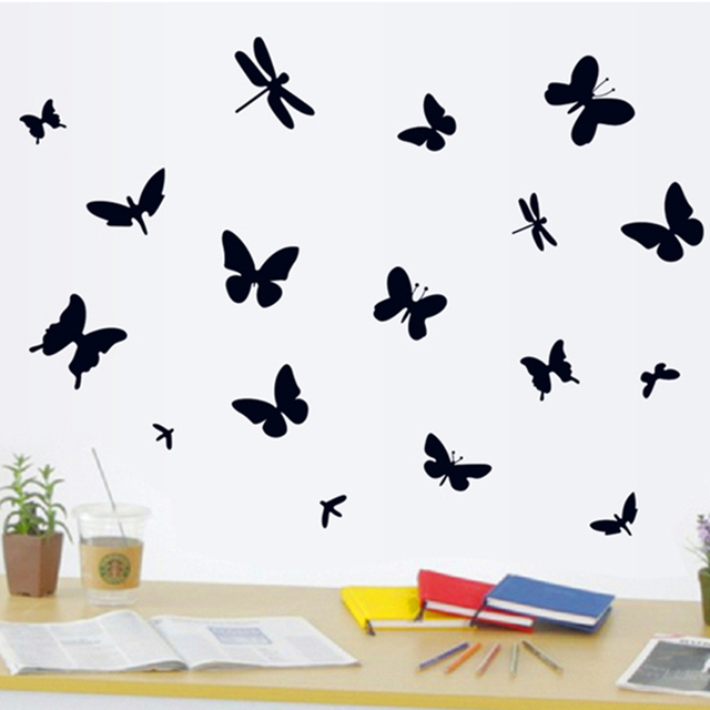 Zs Sticker Black Butterfly Wall Stickers Bug Wall Stickers Silhouette Home  Decoration Accessories Bedroom Decor