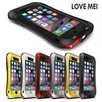Love Mei Aluminum Metal Case Shockproof Heavy Duty Tempered Glass Dual Layer Protective Case for iPhone 5 5S SE 6 6 S