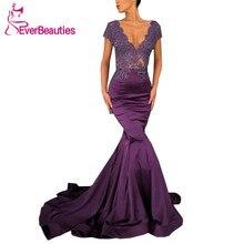 Mermaid Evening Dresses Long 2019 Satin Appliques Evening Party Dresses V-Neck Prom Gown Formal Dress Robe De Soiree