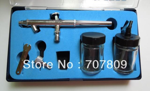 Frete grátis Airbrush Pistola de Dupla Ação Aerografia tatuagem maquiagem Kits 0.35mm agulha/bocal, 2 pcs 22cc jarra de vidro