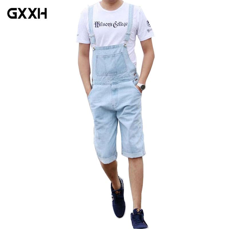 Men s Jeans Bib Light Blue Siamese Suspender Pants Shorts Men s Loose Large Size Overalls