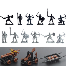 14pcs/lot Classic Military Soldier Catapult Toys Mini Middle Ages Weapon for Model Sandbox Figures Child Gifts