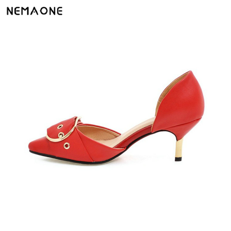 NEMAONE 2017 New summer women shoes high heels women pumps poined toe dress shoes woman mujer black white red large size 34-43 nemaone 2017 new elegant women pumps poined toe low heels women shoes office lady dress shoes zapatos mujer large size 34 43