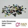 Ss06 Cores Sortidas DMC ss10 ss16 ss20 ss30 Strass Hotfix Flatback Rodada Artesanato Scrapbooking Ferro Em Diamantes De Vidro DIY