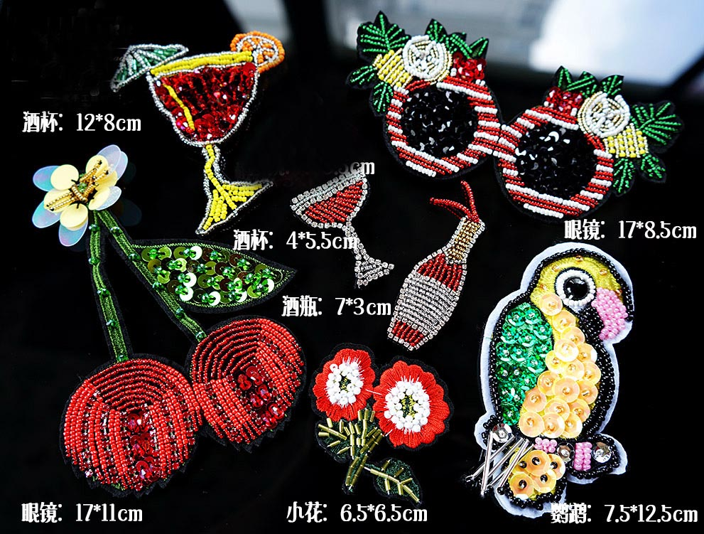 2Pcs Hawaii Cherry Parrots Glasses Flowers Glasses Cherry Patterns Decoration Stereo Bead Patch Diy Clothes patch <font><b>A1316</b></font> image