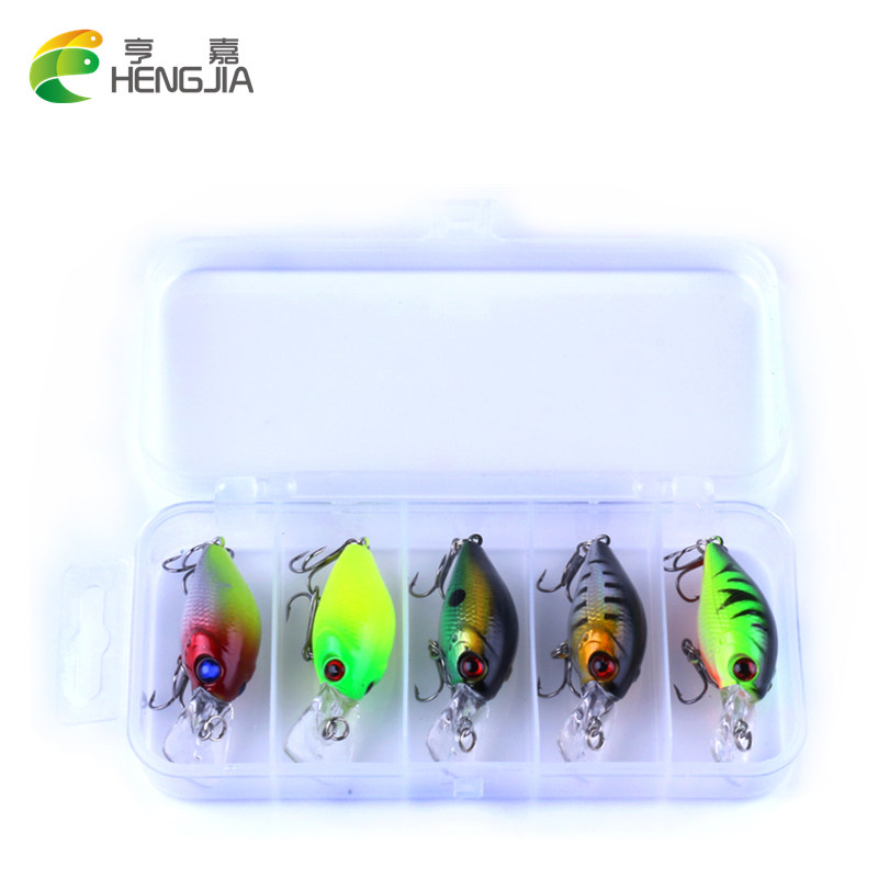 HENGJIA 5pc 4.2g Fiske Lure Kit Minnow flytende Lure Isca Crankbait Bait Pesca Jig Fishing Hook Set Med Fishing Tackle Box